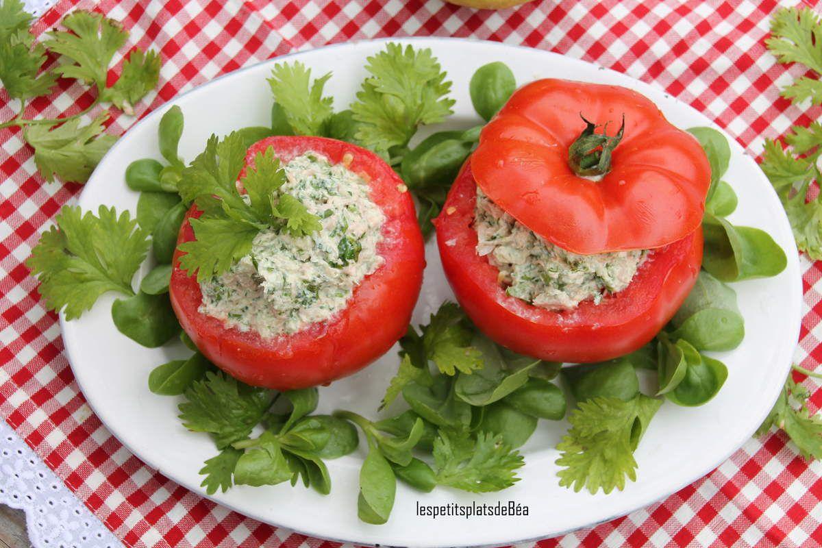 Tomates farcies aux rillettes de thon à l'orientale