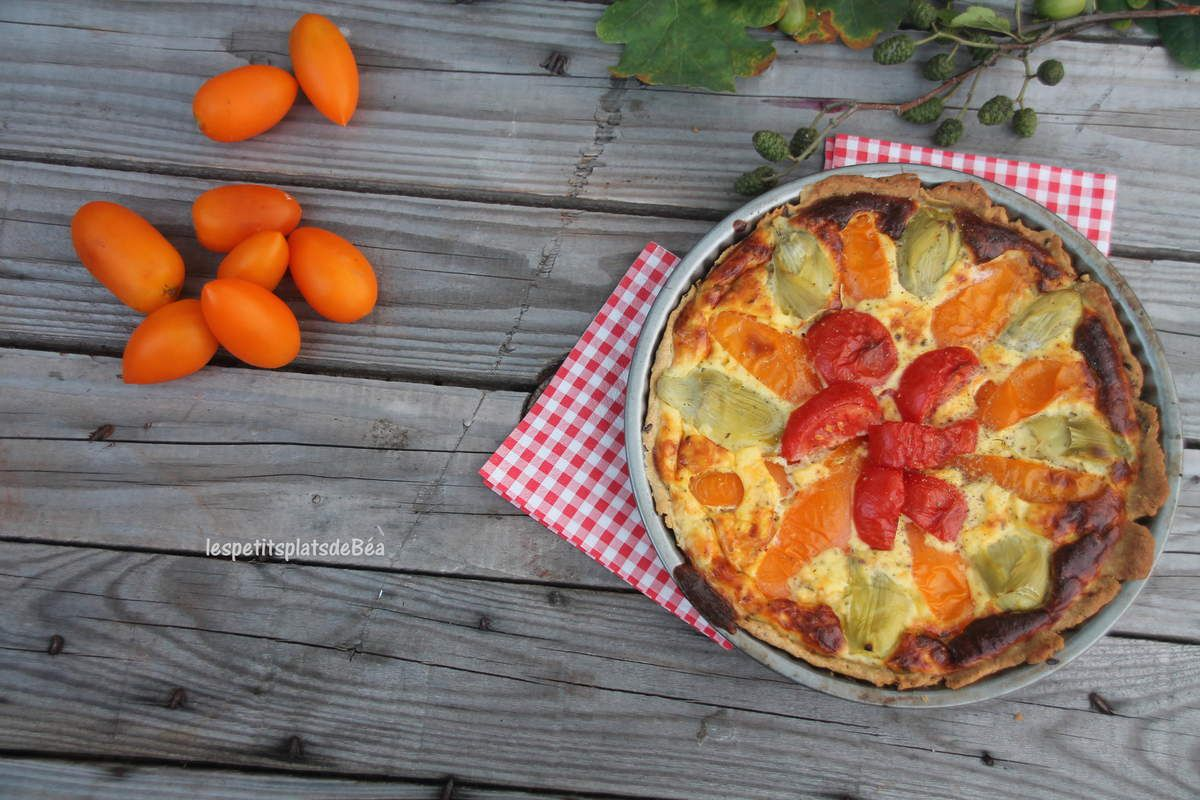 Quiche à la tomate et aux artichauts