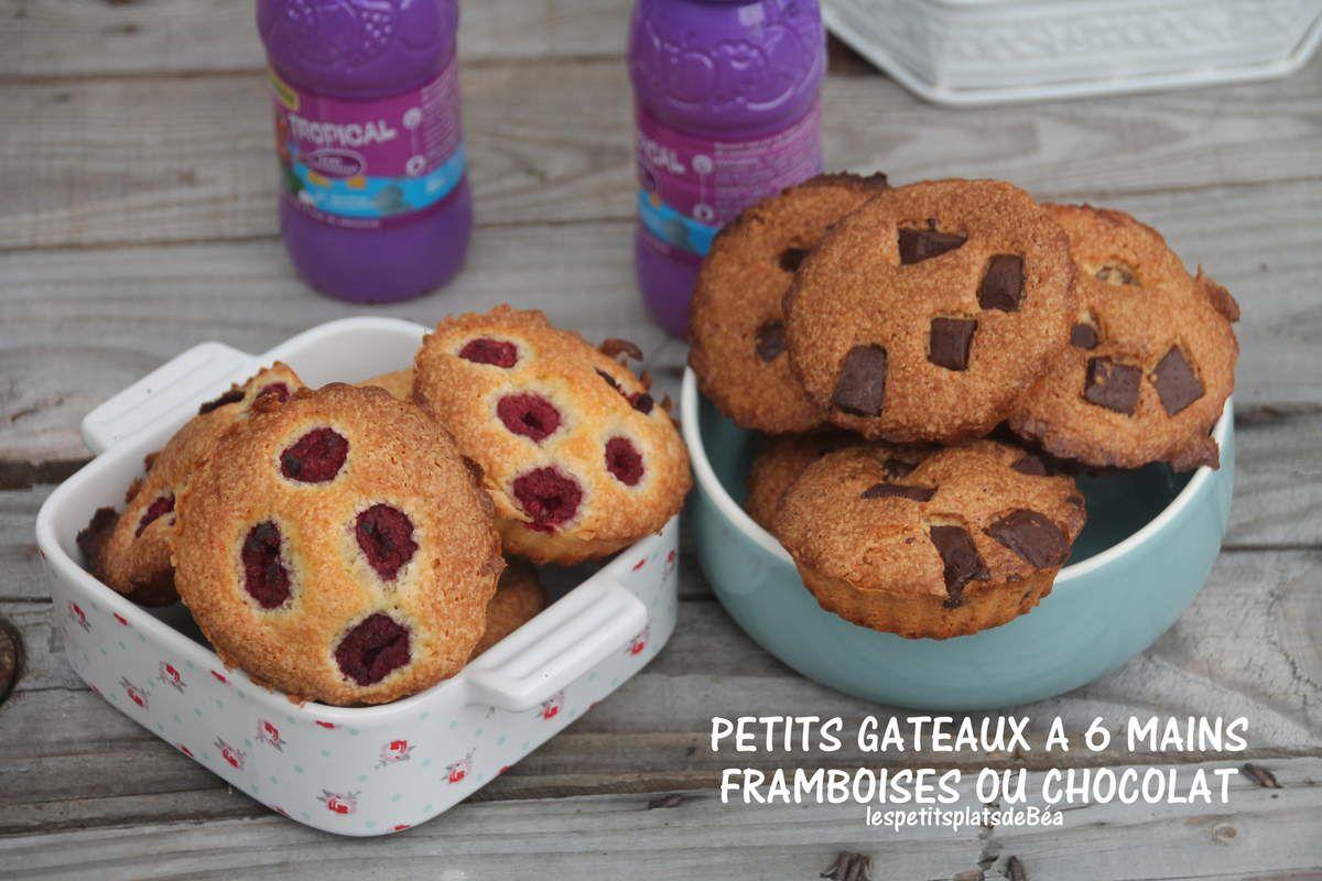 Petits gâteaux à 6 mains, framboises ou chocolat