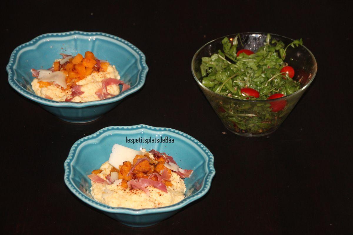 Polenta crèmeuse à l'Ossau-Iraty, potiron et jambon de Bayonne - Paysages basques