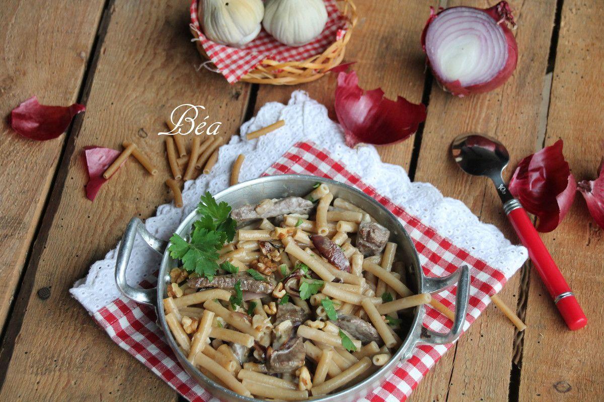 Pâtes intégrales au rumsteck gorgonzola et noix