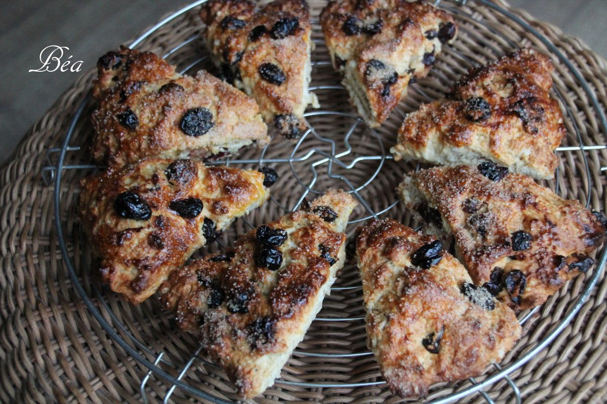 Scones aux cranberries, orange et coco