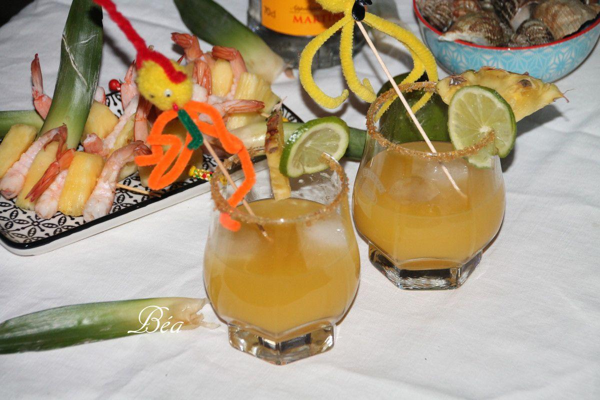 Cocktail aphrodisiaque gingembre, ananas et rhum
