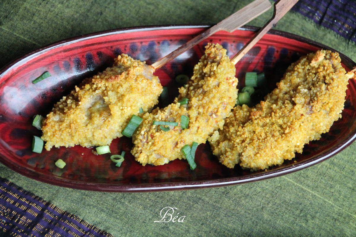 Brochette d'agneau en croute de semoule épicée, boulgour aux pois chiches et épinards
