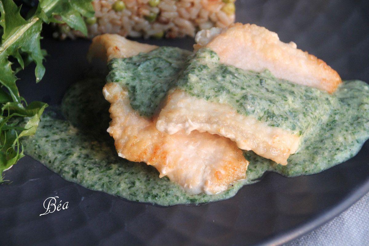 Filet de poisson à la crème de pissenlit