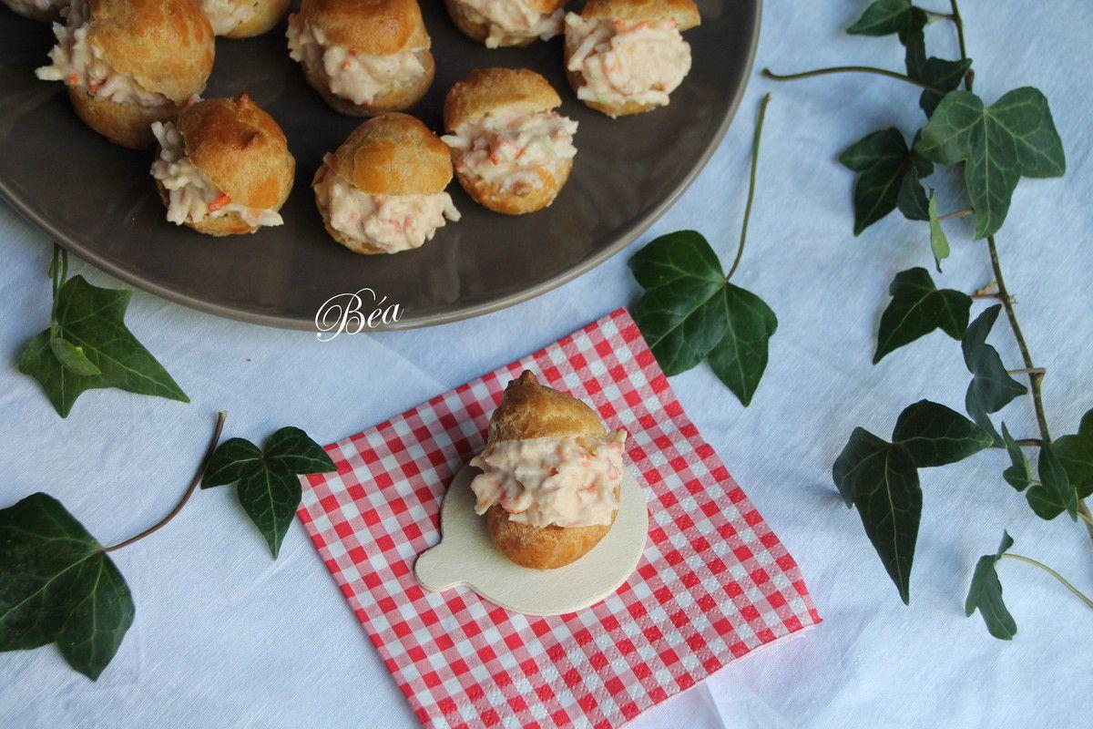 Petits choux au cocktail de surimi râpé - Balade bretonne, la pointe de la Torche
