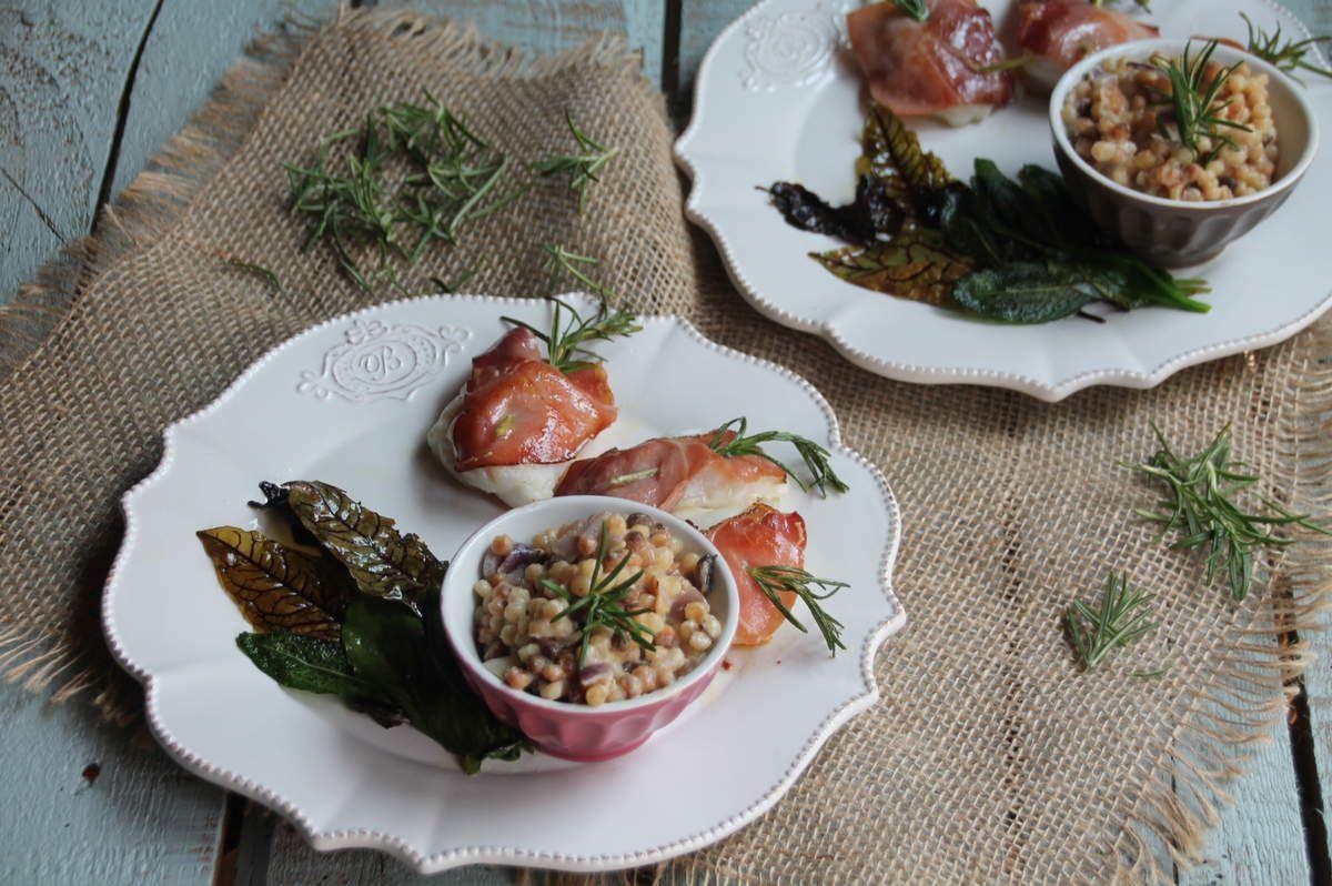 Saltimboccas de lotte et risotto de fregola