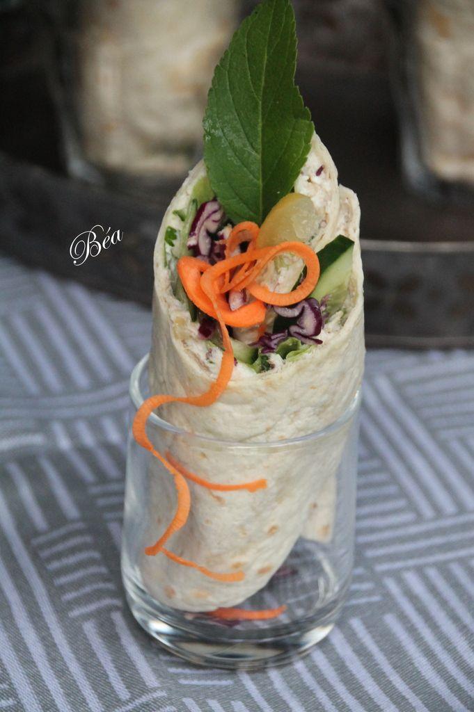 Wrap aux rillettes de maquereau et légumes croquants