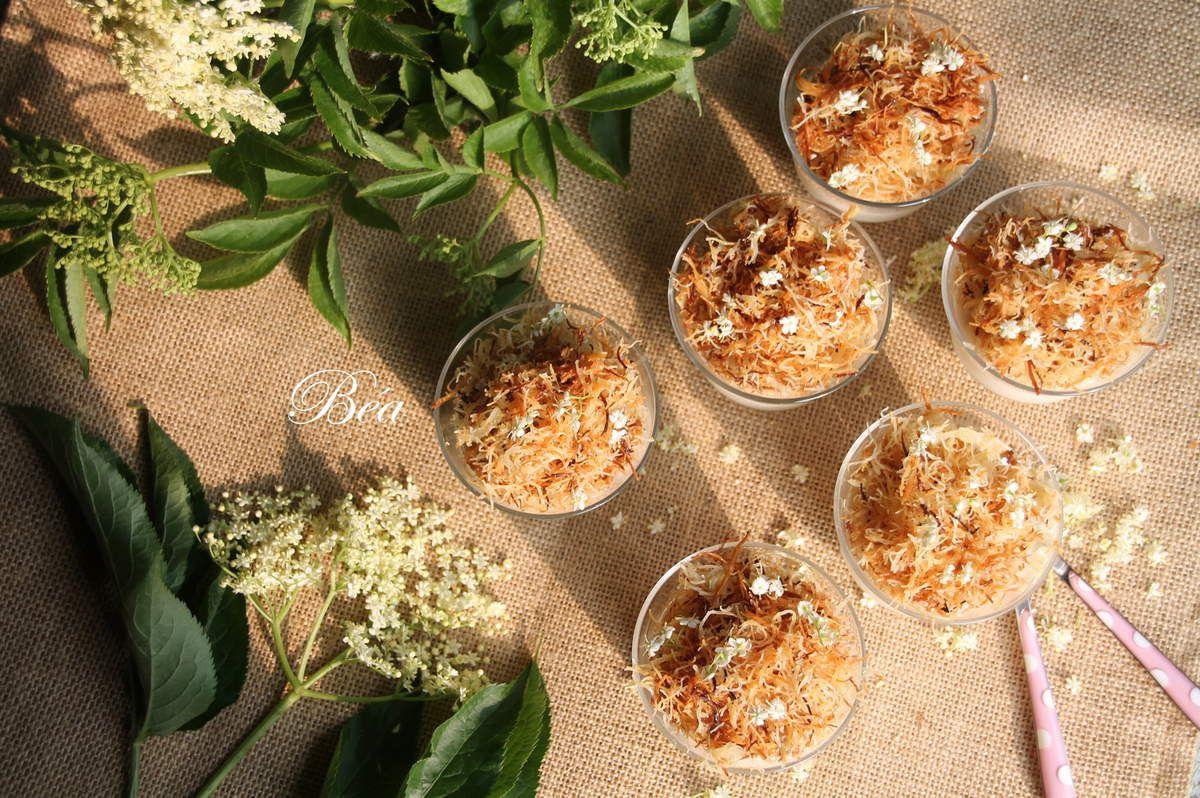 Panna cotta à la fleur de sureau et kadaif croustillant