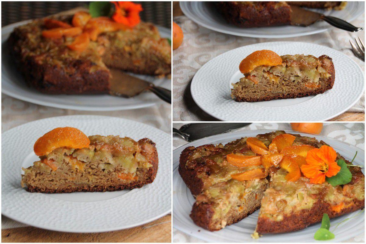 Gâteau renversé rhubarbe et abricots
