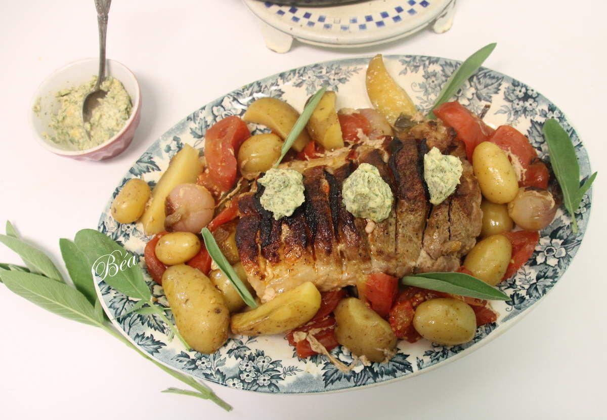 Roti de porc au chorizo et beurre de sauge