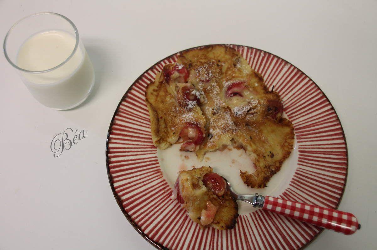 Crêpes rustiques aux cerises et au lait ribot