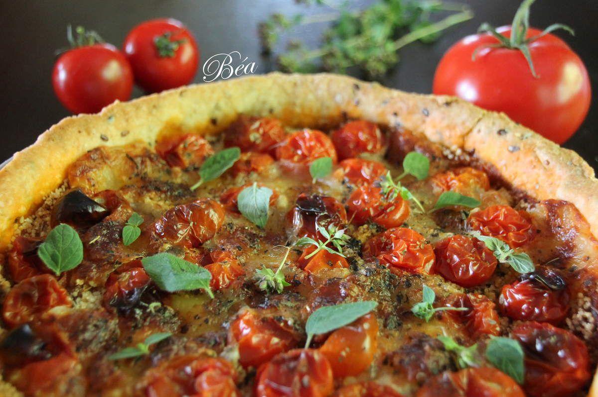 Tarte aux tomates cerises, à la mozzarella et au pesto rouge