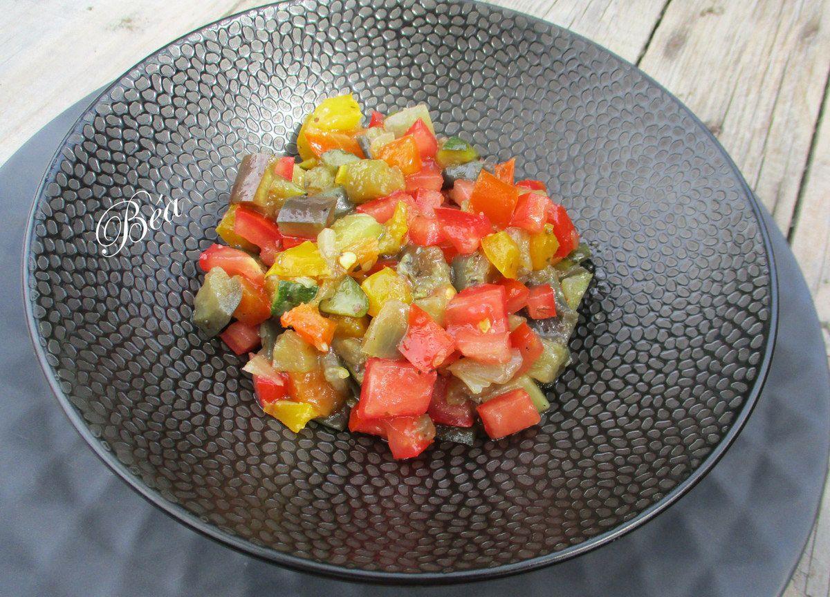 Cornet de jambon à la salade de ratatouille
