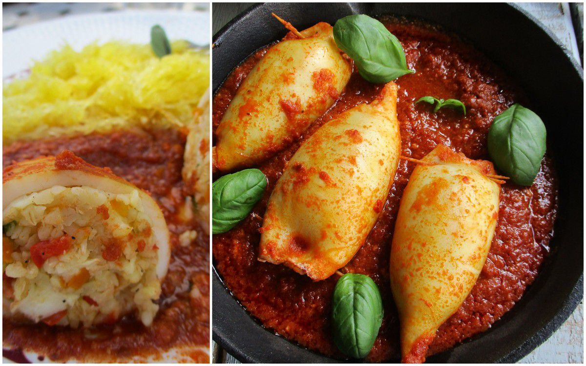Calamars farcis au boulghour, poivron et halloumi et courge spaghetti