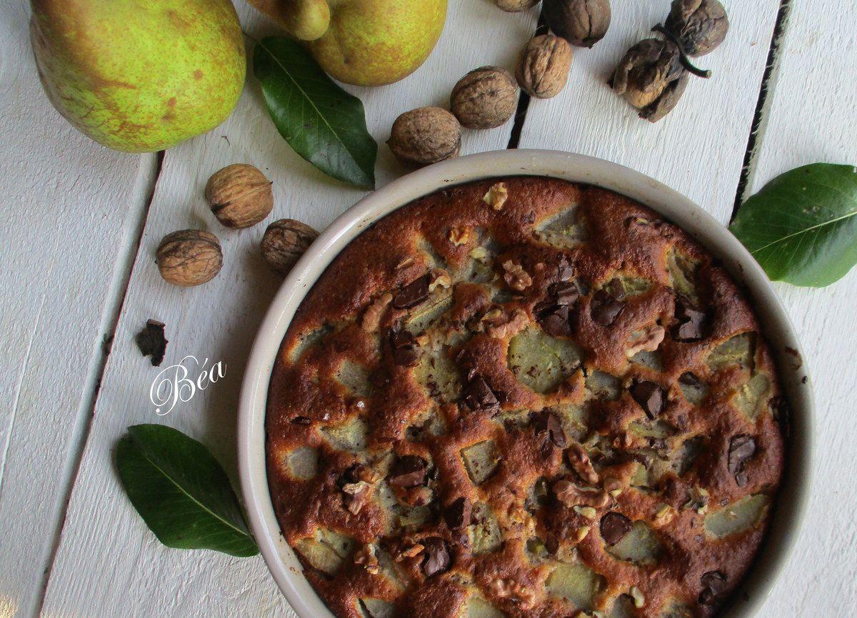 Tarte sans croute aux poires, chocolat et noix