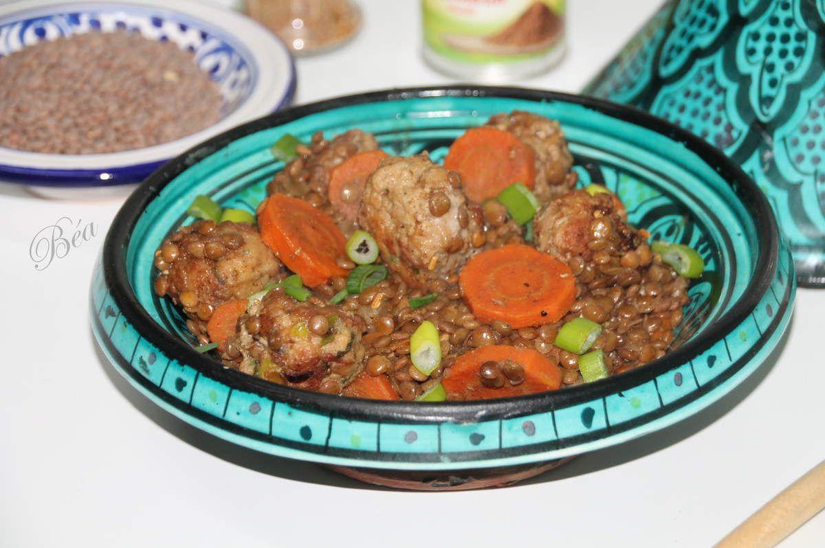 Tajine de lentilles rouges et boulettes de veau -  Bataille Food # 71