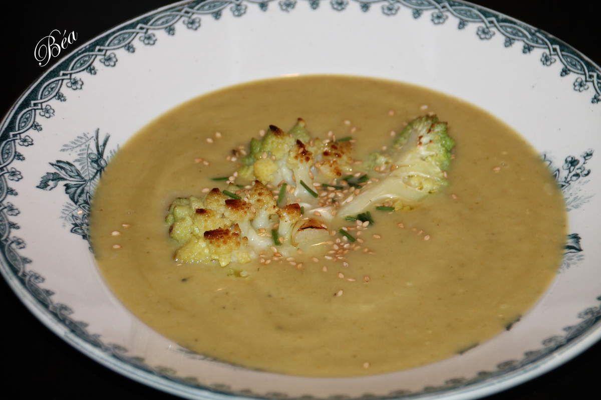 Soupe de courge butternut et chou romanesco