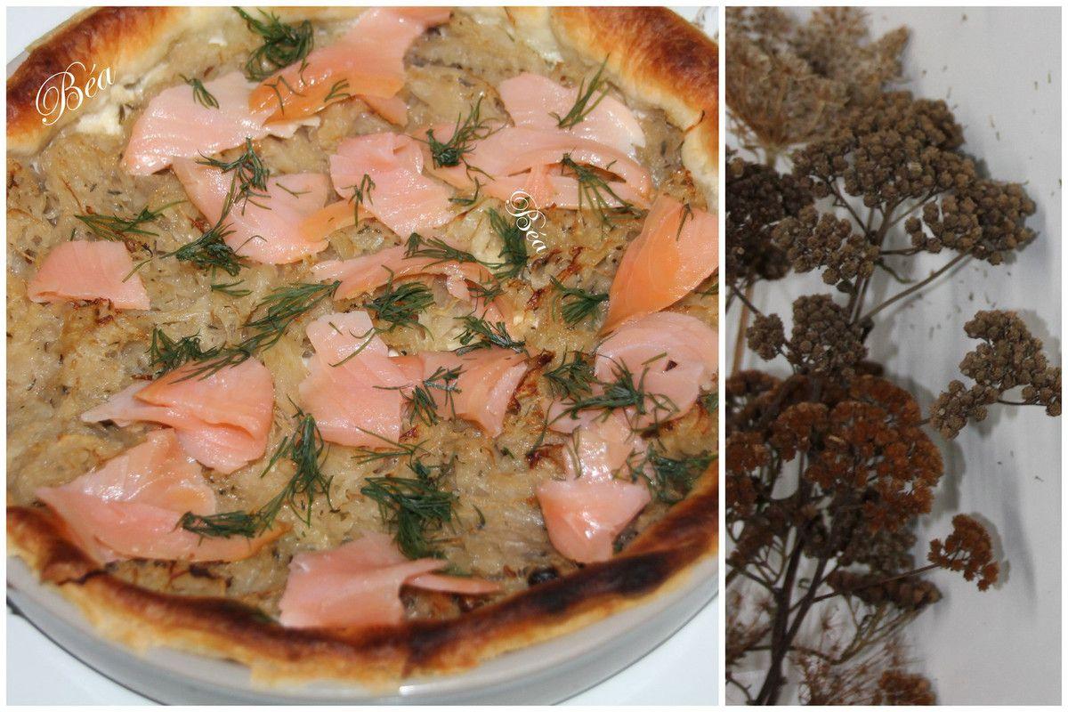 Tarte alsacienne choucroute et saumon fumé