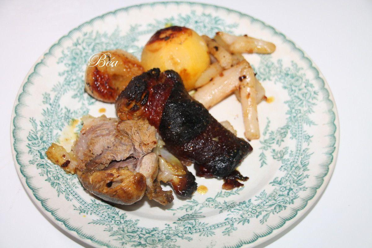 Jarret de porc laqué au miel et aux épices douces
