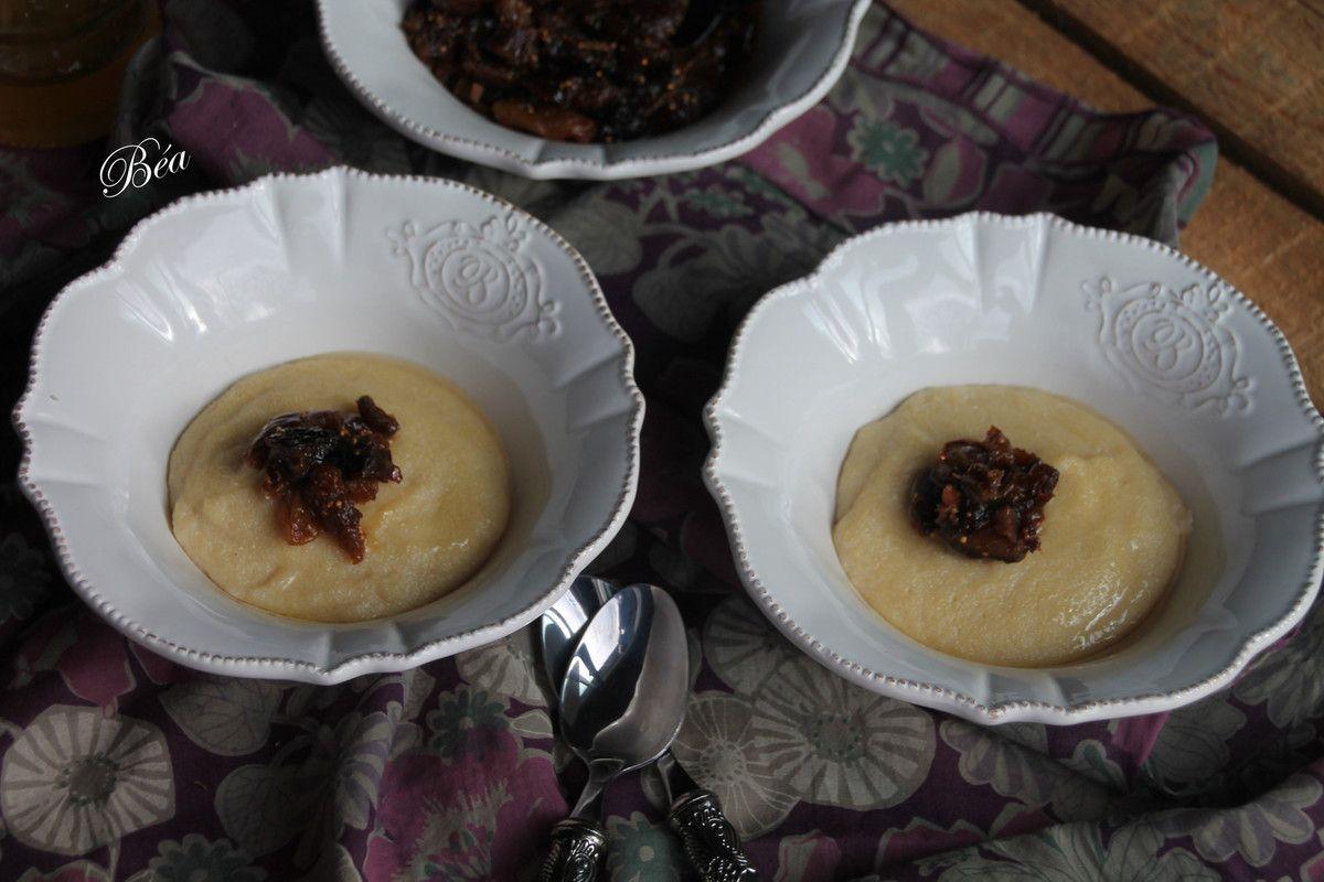 Crème de semoule à l'huile d'argan et compotée de fruits moelleux