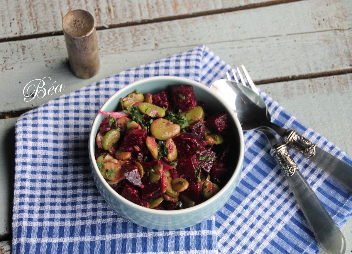Salade de  betteraves rouges et fèves