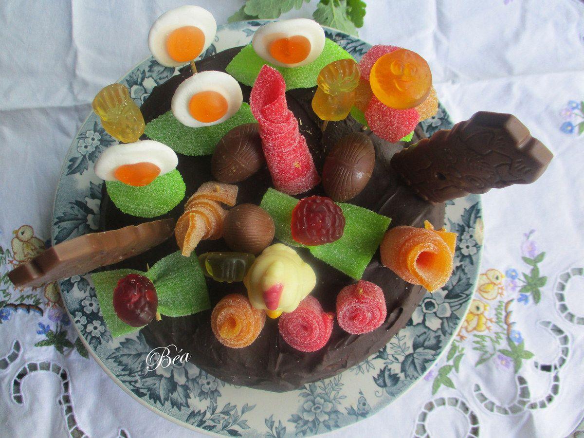 Gâteau au chocolat chasse aux oeufs