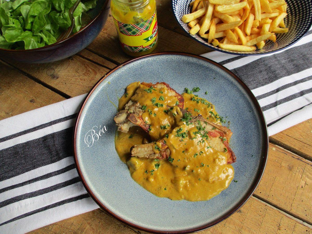 Côtes de porc sauce crèmeuse au piccalilli - Balade belge - Les serres royales à Bruxelles