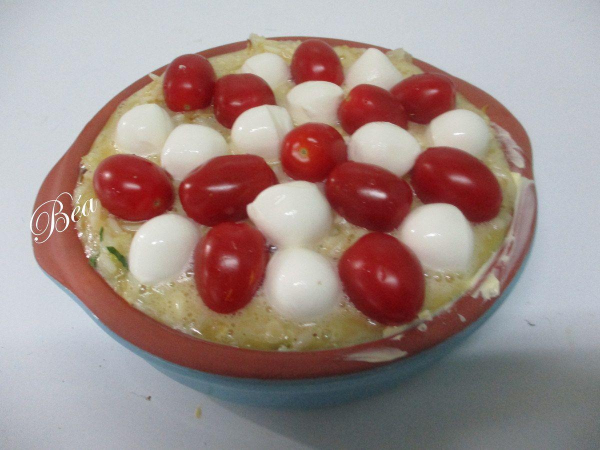 Tarte sans pâte aux tomates cerise et  billes de mozzarella