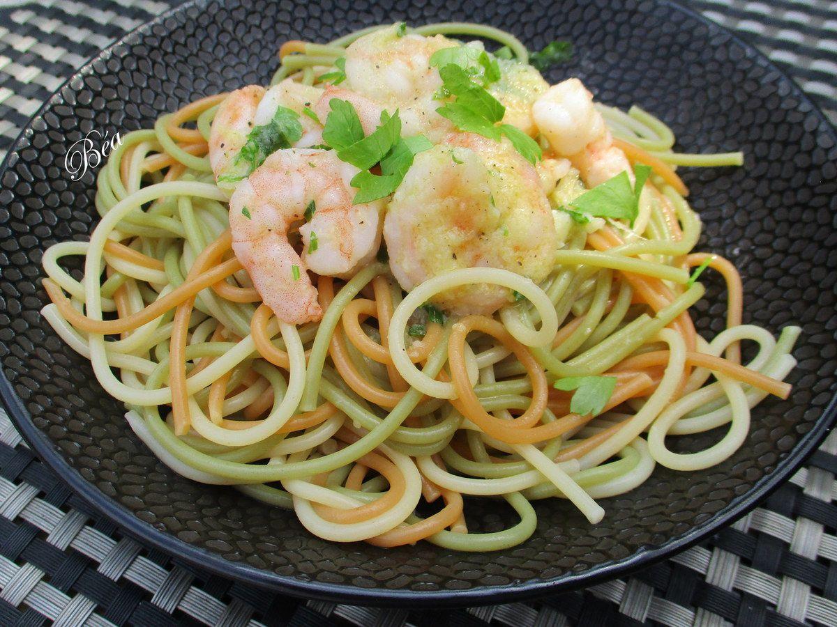 Spaghetti aux crevettes à la crème d'ail nouveau - balade belge à La Panne