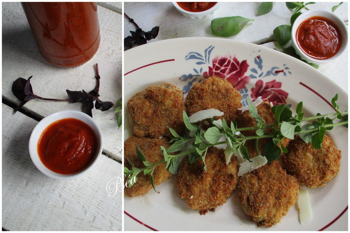Nuggets au parmesan et tomates confites, ketchup maison au basilic