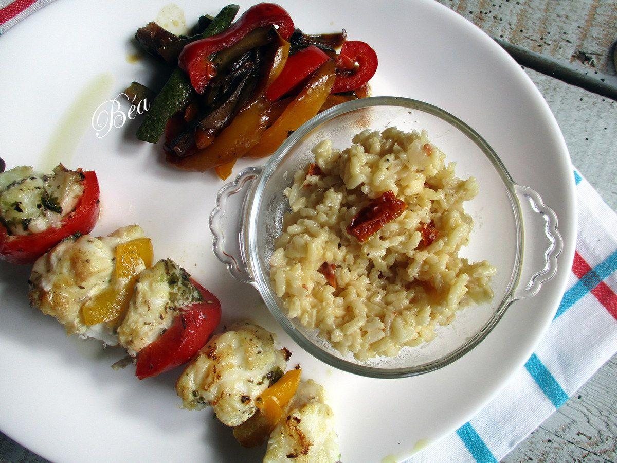 Brochette de lotte marinée aux algues et risotto aux tomates confites - balade bretonne : les abers