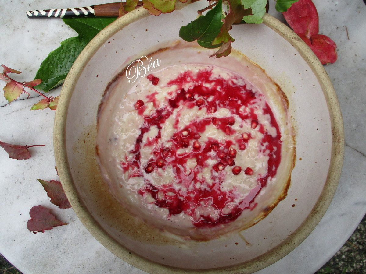 Riz au lait au jus de grenade pour un octobre rose
