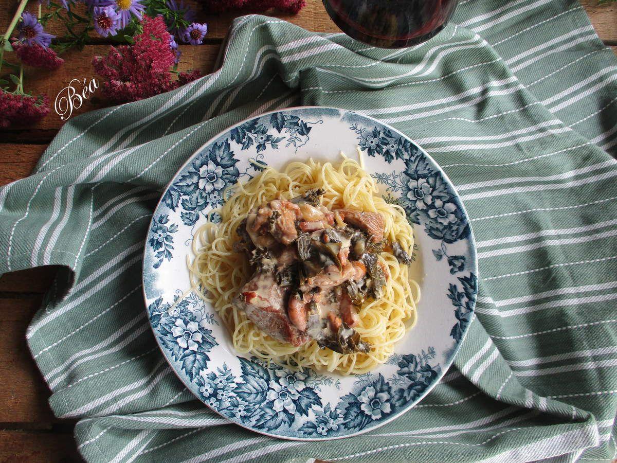 Sauté de veau au chou kale et champignons