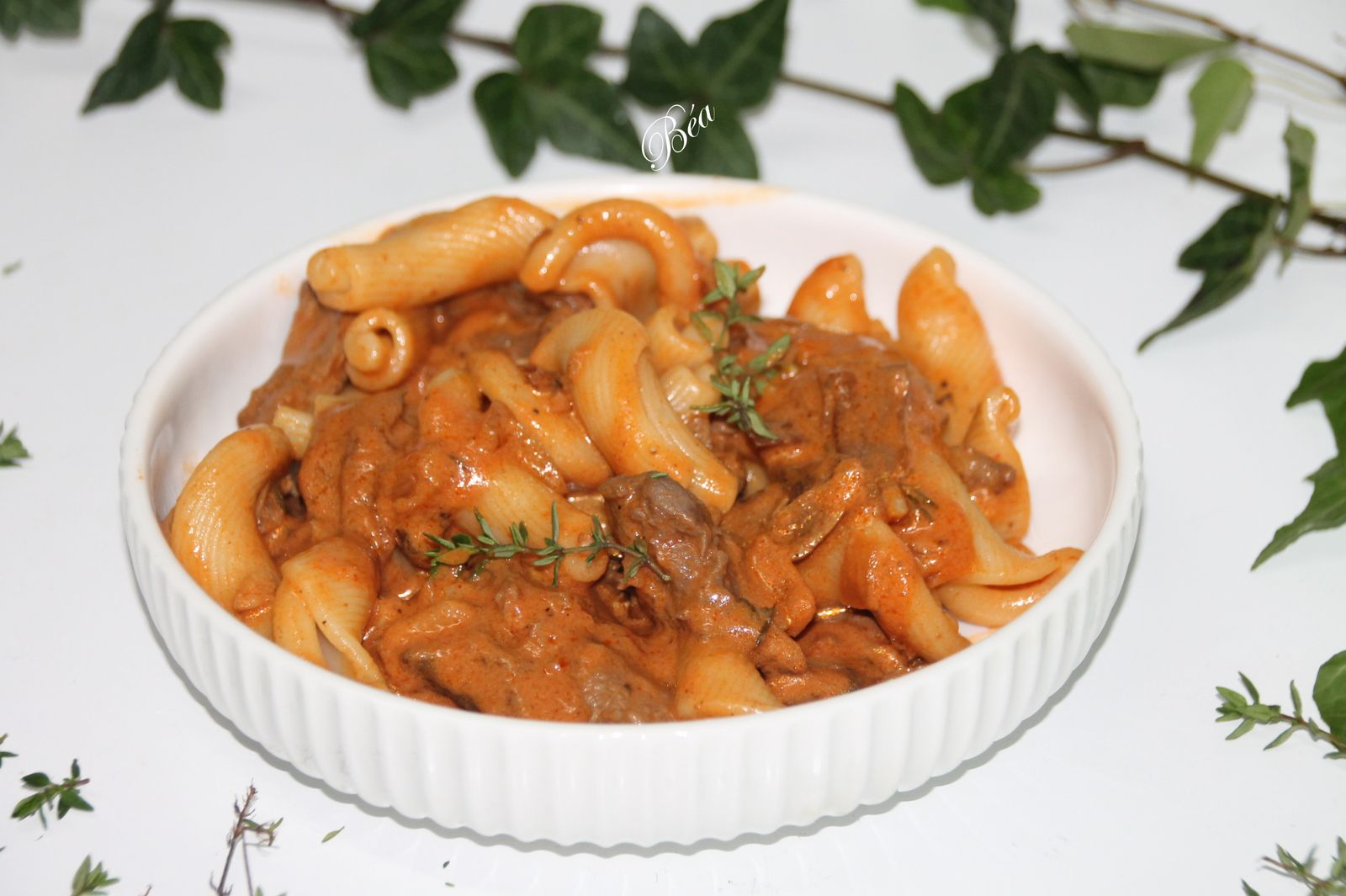 Pâtes sauce stroganoff