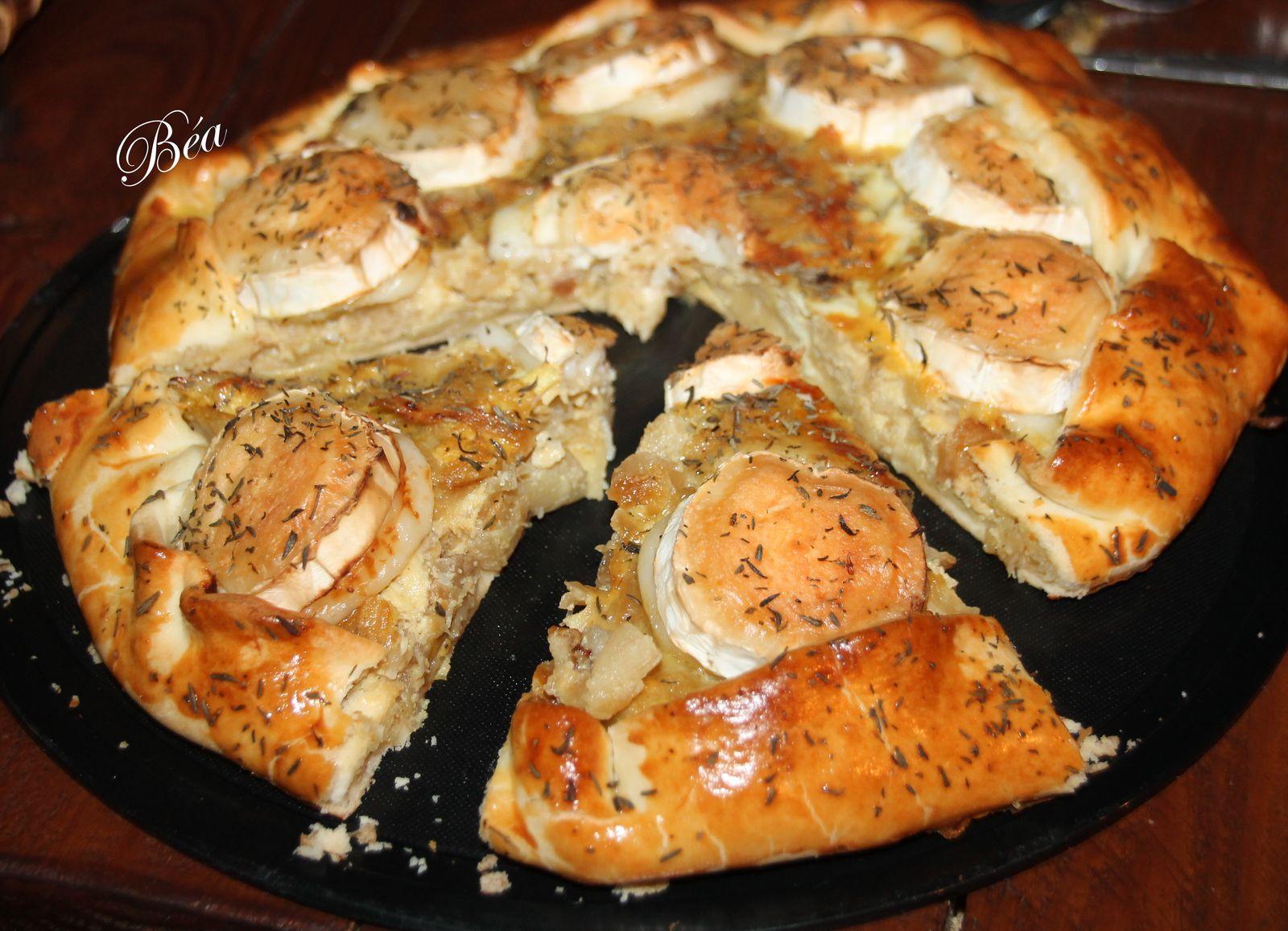 Tarte rustique aux oignons, sirop d'érable et chèvre