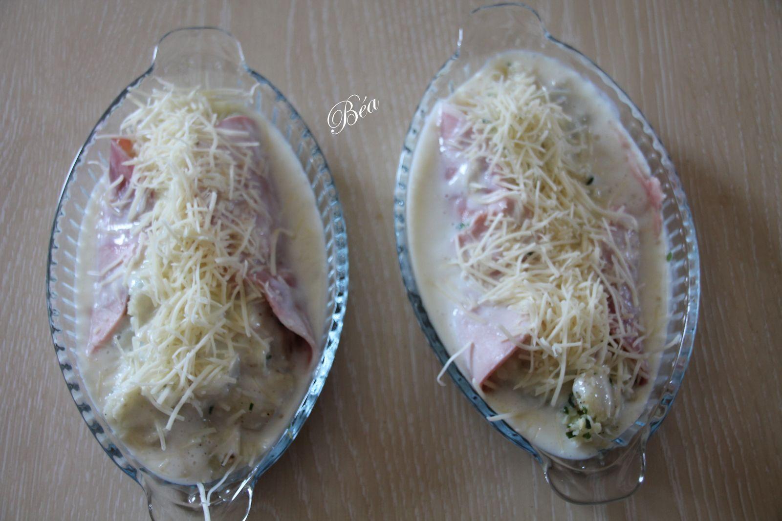 Roulade de jambon au chou fleur gratinée