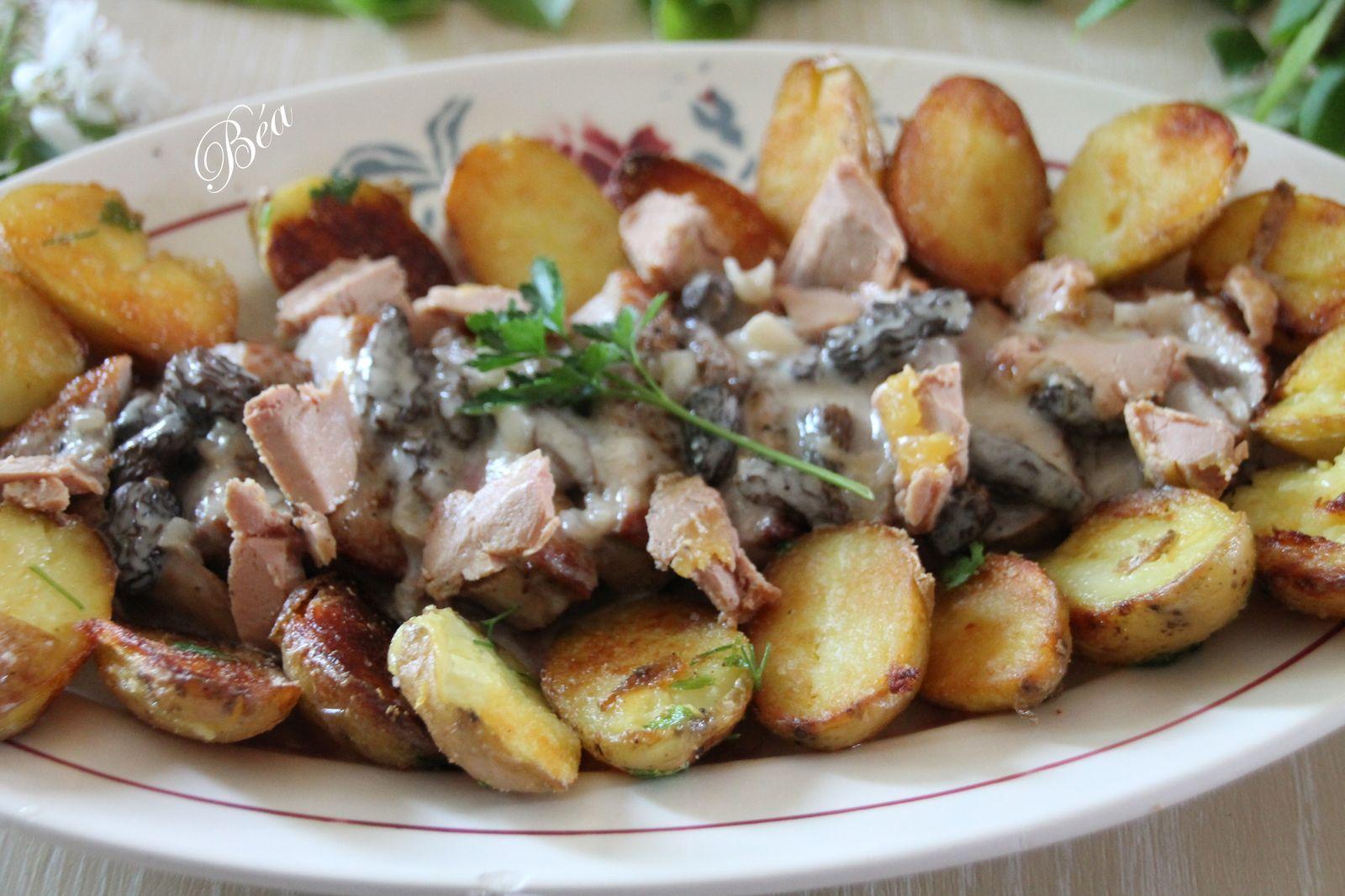 Magret de canard aux morilles et au foie gras