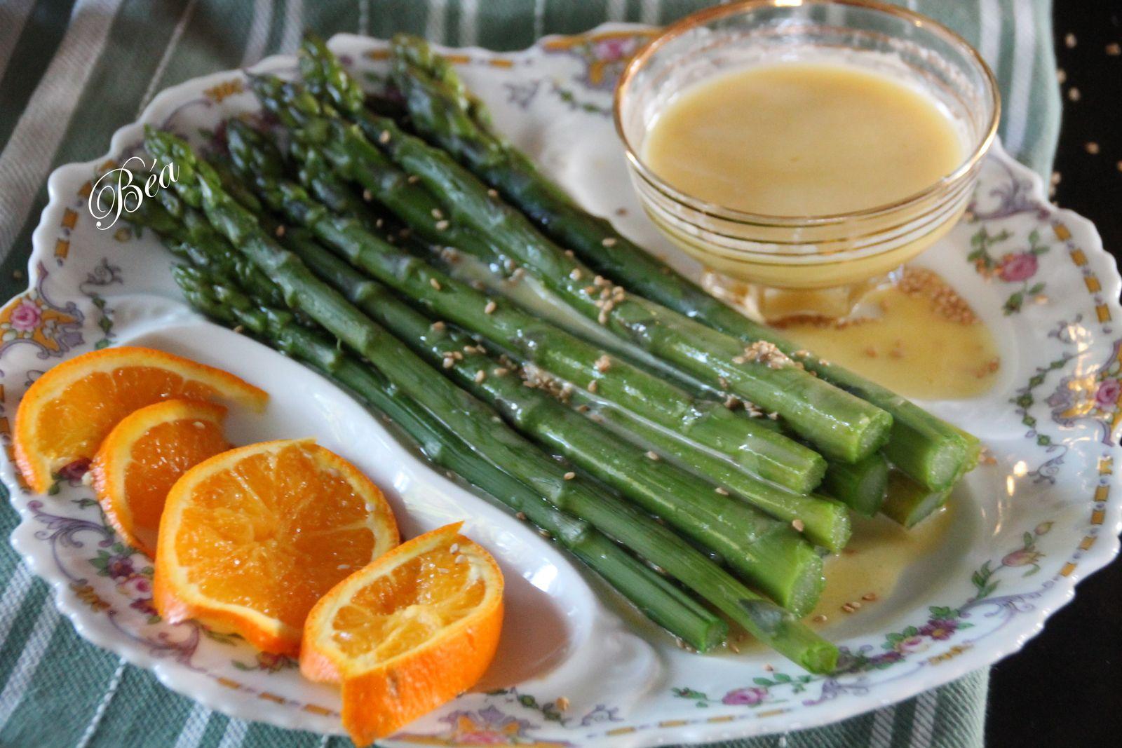 Asperges vertes vinaigrette à l'orange