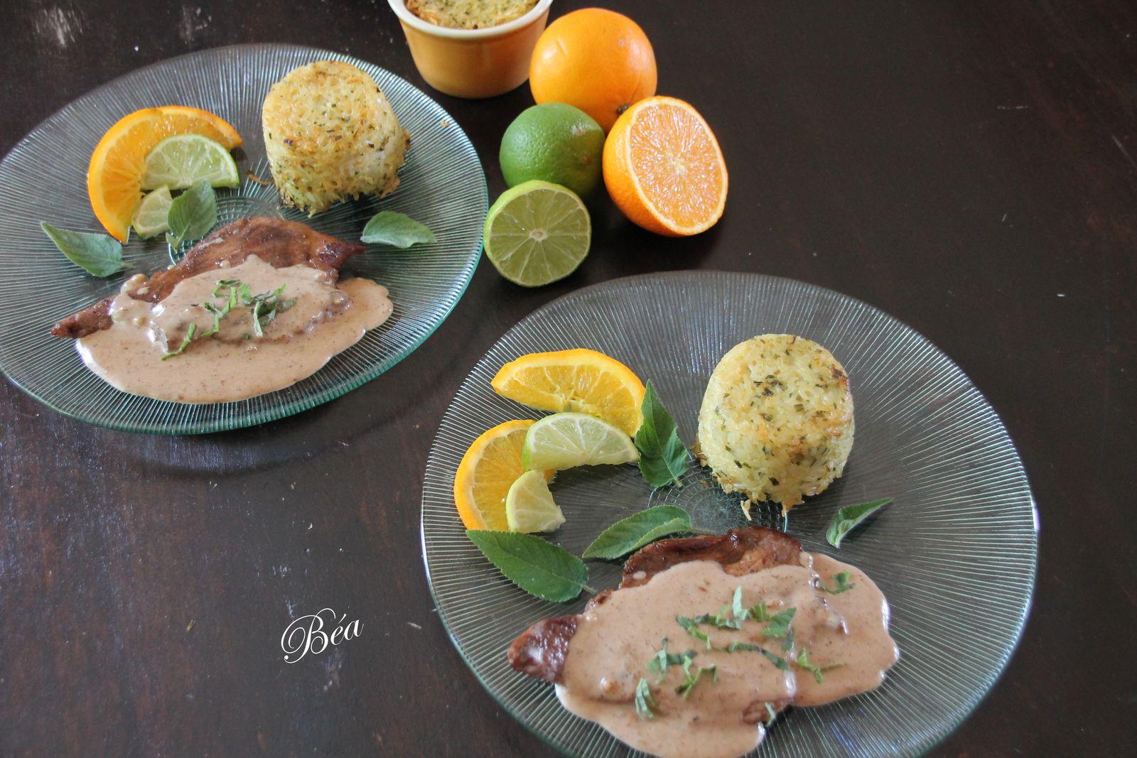 Escalope de veau aux agrumes et dariole de riz