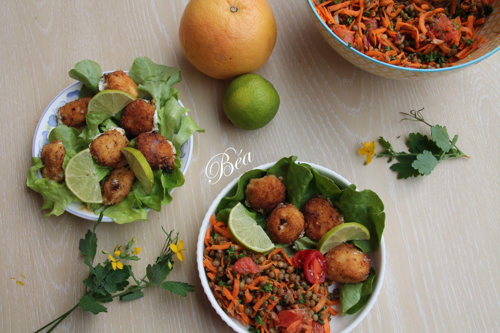 Salade de lentilles carottes et pamplemousse, croquettes de féta au miel et aux herbes