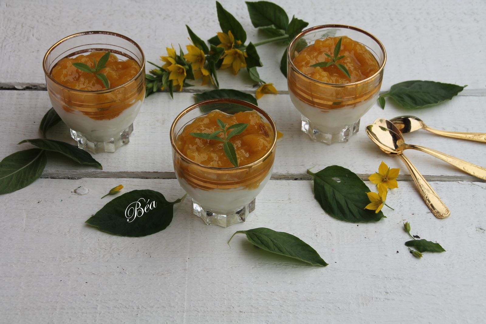Mousse de petit suisse et compotée de mangue à la vanille