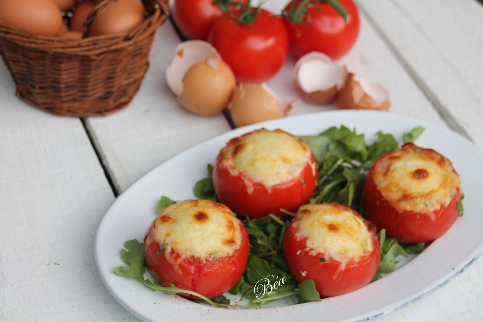 Tomates farcies aux oeufs à la ciboulette