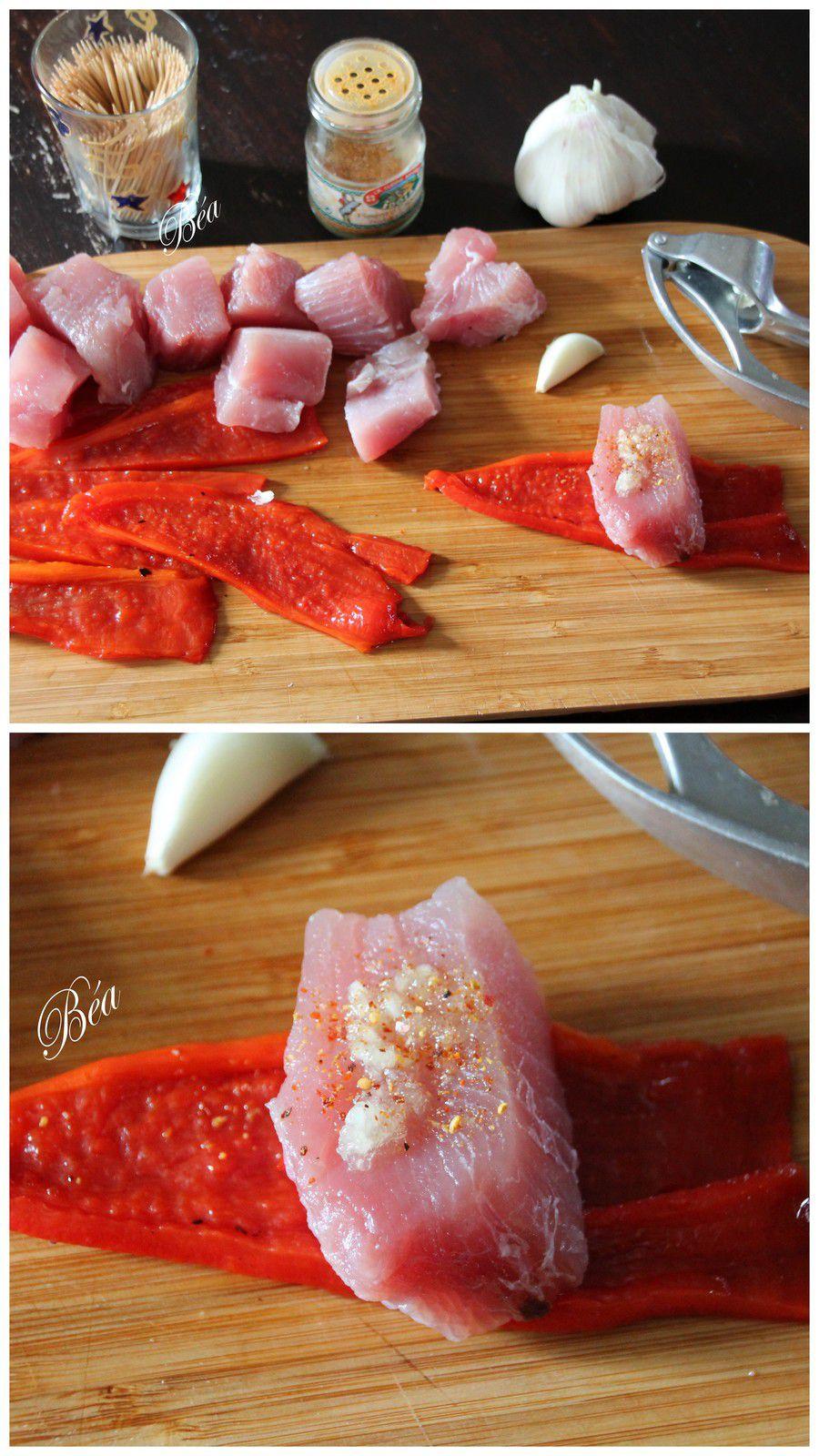 Bouchées de thon frais aux poivrons marinés et duo de spaghetti à la grémolata
