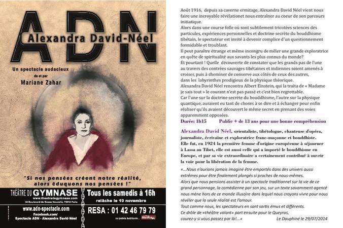 « Alexandra David-Néel dans ADN » au Théâtre du Gymnase, nous y étions !