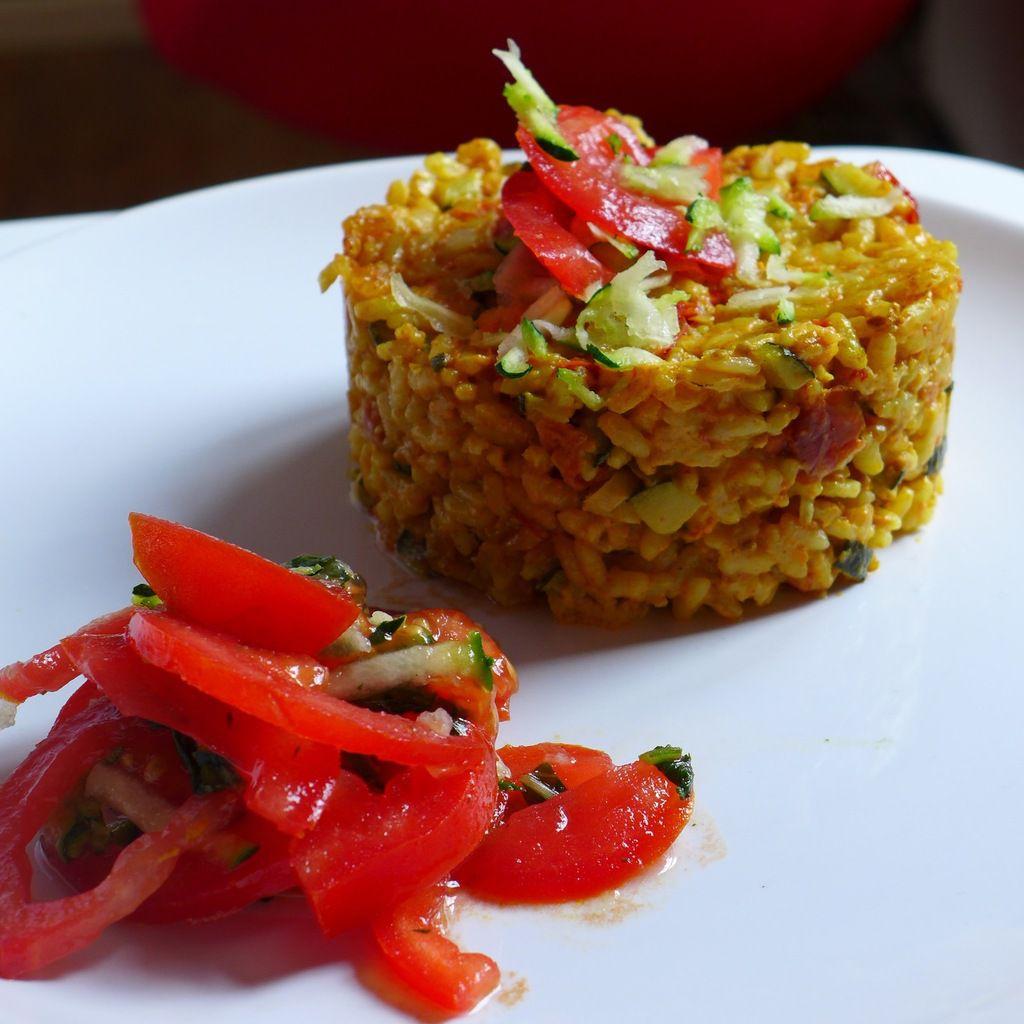 Repas d'un soir #10: Risotto crémeux aux tomates, courgettes et curry.