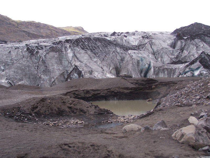 Front de la langue glacière du Solheimjökull