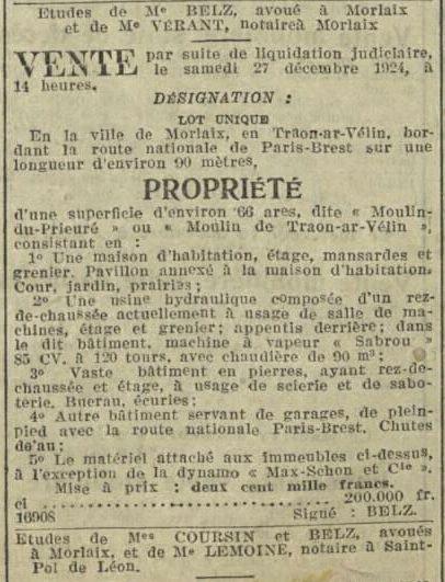 Maison... Etage, mansardes, grenier... in La Dépêche de Brest du 16/12/1924.