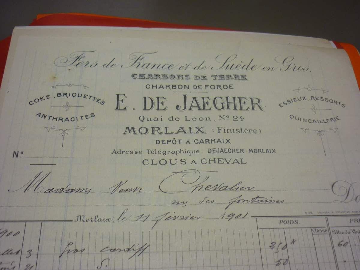 Le papier à en tête des de Jaegher. Ils étaient bien commerçants... A Morlaix !