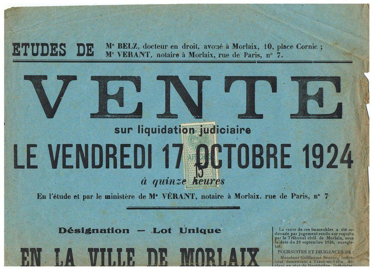 Vente de Traon ar Velin. 17 octobre 1924.